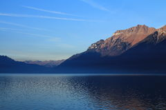 Mt Augstmatthorn at sunrise, view from Brienz Stock Image