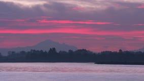 Mt Bäcker Sunrise, Fraser River 4K UHD stock footage