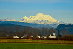 Mt Baker as backdrop to Conway, WA Royalty Free Stock Photography