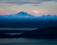 Mt. Baker at dusk, Moran State Park, WA Stock Photography