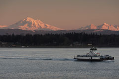 Mt. Baker and a Ferry Boat Royalty Free Stock Photo