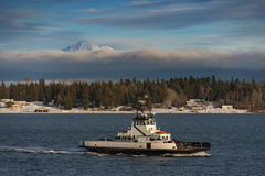 Mt. Baker and the Ferry After a Winter Storm Royalty Free Stock Photography