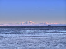 Mt Baker and Puget Sound. Mt Baker locate in Washington State, photographed from the Southern Gulf Island of British Columbia Royalty Free Stock Images