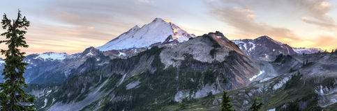 Mt. Baker Sunset Panorama Royalty Free Stock Image