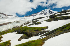 Mt. Baker, Washington. The snow fields surrounding Mt. Baker and the Coleman glacier make for a beautiful and dramatic landscape in the North Cascade Mountain Stock Photos