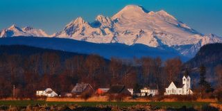 Mt. Baker, Washington State. Mt. Baker watches over a small town in Washington State Stock Photo