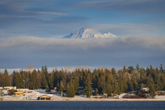 Mt. Baker in Wintertime. Snow covers the landscape after a winter storm with Mt. Baker in the background. Washington State, USA Stock Photography