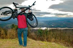 Mt biking with a view. Stopping on the trail for a rest with a beautiful view Stock Photography