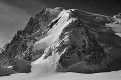 Mt Blanc de Tacul. The Mt Blanc de Tacul in the Mont Blanc massif, French Alps. In black and white Stock Image