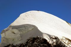 Mt Breithorn, trek to 4164 metres. Stock Images