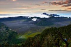 Mt Bromo ad alba Fotografia Stock