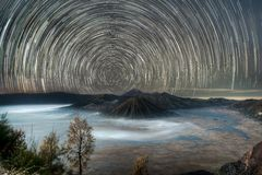 Mt. Bromo Star Trail. Photo taken moment before the sun rise Stock Images