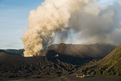 Mt. Bromo volcano erupts in Java, Indonesia Stock Image