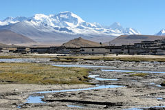 Mt.Cho Oyu et village Images stock