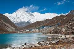 Mt. Cho Oyu and Gokyo lake, Everest region, Nepal. Landscape of Gokyo valley, with Gokyo lake and Cho Oyu mountain, Nepal Royalty Free Stock Photo