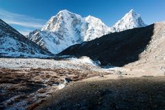 Mt Cholatse, Tabuche peak and Arakam Tse Royalty Free Stock Photo