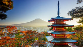 Mt 与Chureito塔的富士,吉田市,日本 库存图片