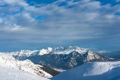 Mt Churfirsten en Suisse orientale vue du secteur de ski de Pizol tôt le matin photo stock