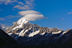 Mt.Cook (aka. Mt.Aoraki) from Hooker Valley, New Zealand Stock Image