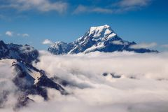 Mt Cook also known as Mount Aoraki is the highest mountain of New Zealand, National Park, South Island stock images