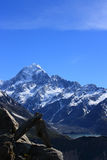 Mt Cook And Rock Sculpture Stock Photography