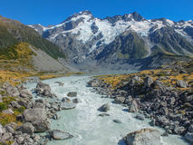 Mt. Cook. The end of Valley track in New Zealand royalty free stock photo