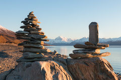 Mt. Cook in frame of balancing rocks Royalty Free Stock Photography