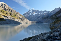 Mt. Cook and Hooker Lake. Royalty Free Stock Images