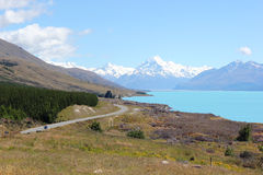 MT Cook Lake Pukaki Royalty-vrije Stock Foto's