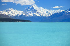 Mt Cook with Lake Pukaki Royalty Free Stock Photo