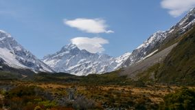 Mt cook looking up the valley in nz royalty free stock image