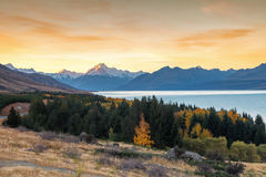 Mt. Cook. Mount Cook towering over glacial Lake Pukaki in hues of turquoise during the sunset Stock Photography