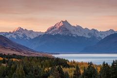 Mt. Cook. Mount Cook towering over glacial Lake Pukaki in hues of turquoise during the sunset Stock Photos
