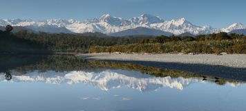 Mt. Cook and Mt. Tasman, West Coast New Zealand Royalty Free Stock Photo