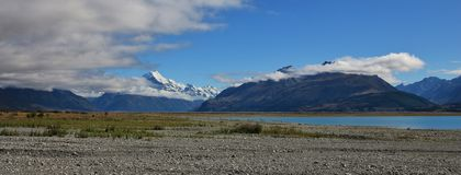 Mt Cook and shore of Lake Pukaki Royalty Free Stock Photos
