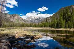 Mt. Craig in Grand Lake, Colorado during Spring. This is Mt. Craig in Grand Lake, Colorado in the Spring of 2019. Due to a large amount of snow over the winter royalty free stock photography