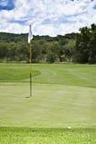 Mât de drapeau, bille, vert et parcours ouvert Photos stock