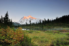 Mt. de Zonsondergang van de Herfst van Shuksan stock foto's