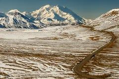 Mt Denali, Mt 麦金莱,从Eielson访客的看法集中,阿拉斯加,美国 库存照片