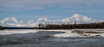 Mt Denali da 3 fiumi Fotografia Stock