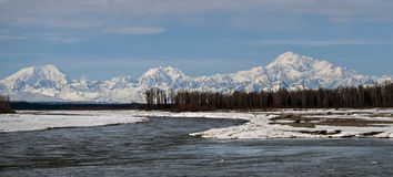 Mt. Denali from 3 rivers. I took this picture of Denali from 3 rivers in Talkeetna Alaska Stock Photo