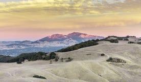 Mt Diablo Sunset Contro Costa County, California, U.S.A. Fotografia Stock Libera da Diritti