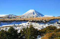 Mt. Doom Frozen. Ngauruhoe, better known as the mountain filmed as Mt. Doom in the Lord of the Rings series, has a very different feeling in the winter time royalty free stock image