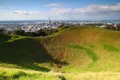 Mt. Eden Caldera. Shoot of Mt Eden Caldera with Auckland as background Stock Photos