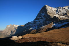 Mt Eiger, Eiger North Face And Old Hotels Royalty Free Stock Photos