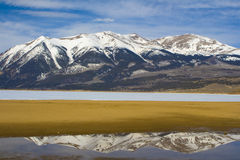 Mt. Elbert. Colorado's highest peak 14,260 foot MT. Elbert from the shores of frozen Twin Lakes, near Leadville, Colorado Royalty Free Stock Images