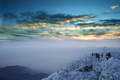 Mt. Emei snow and sunrise. At a height of 3099 meters,Mt Emei is one of the four Buddist Mountains in Ch- ina.In winter ,it is a snow landscapes at sunrise.A stock photos