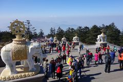 MT.Emei. Mt. Emei stands at 3099 meters 10,167 feet, and is associated with Puxian Bodhisattva Samantabhadra Royalty Free Stock Photos