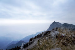 Mt. emei winter. At a height of 3099 meters,mt emei is one of the four Buddist Mountains in china Stock Photo