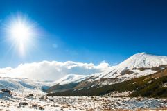Mt. Erciyes volcano covered with snow in winter, Kayseri, Turkey. Mt. Erciyes volcano covered with snow  against the sun in winter, on a clear sky day Stock Image